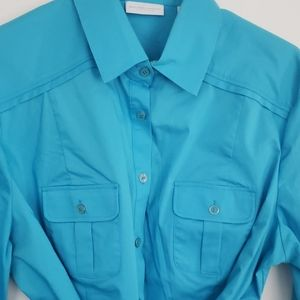 Baby Blue Long Blouse with Tie